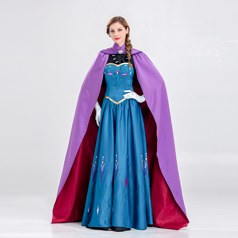 VASHEJIANG Luxury Princess Queen Anna/Elsa Costume Adults Women Princess Anna Costume for Halloween Carnival Party Uniform Dress