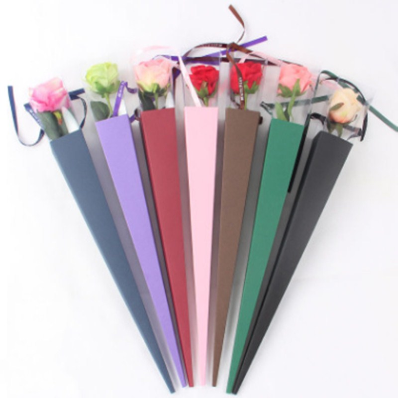 New 5pcs Spot Supply Of High-grade Single Rose Box PVC Folding Flower Box Single Carnation Flower Packaging Gift Box