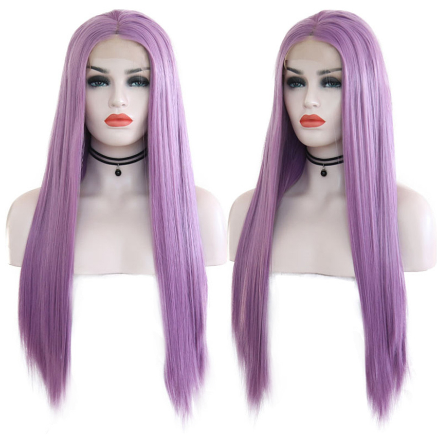 RONGDUOYI Long Silk Straight Hand Tied Synthetic Lace Front Wig Glueless Heat Resistant Fiber Hair Purple Wigs For Women