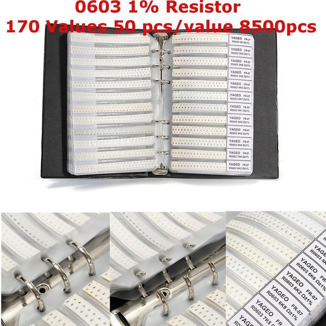 새로운 블랙 0603 1% smd 저항 170 값 50 pcs/값 8500 pcs 샘플 도서 구색 키트 저항기 샘플 핫 세일 최저 가격