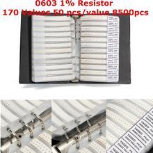 Nouveau noir 0603 1% SMD résistance 170 valeurs 50 pièces/valeur 8500 pièces échantillon livre assortiment Kit résistances échantillon vente chaude prix le plus bas