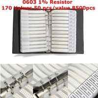 Nuevo Negro 0603 1% SMD Resistor 170 valores 50 uds/valor 8500 Uds muestra libro surtido kit resistencias muestra gran oferta precio más bajo