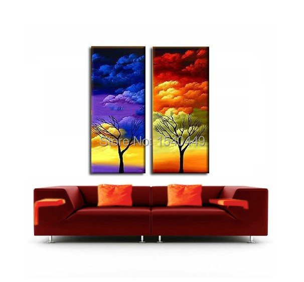 Handmade 2 Piece Abstract Tree Oil Painting Cheap Canvas