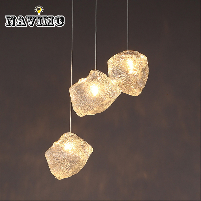 Modern White Crystal Ice Glass Kitchen Home Living Dining Room Restaurant  Pendant Light Fixtures Wholesale Lamps