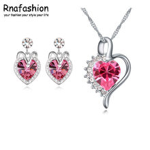 2017 Fashion Jewelry Austrian Crystal Titanic Heart Necklace Earring Set For Women Bridal Sets collier femme Jewellery(China)