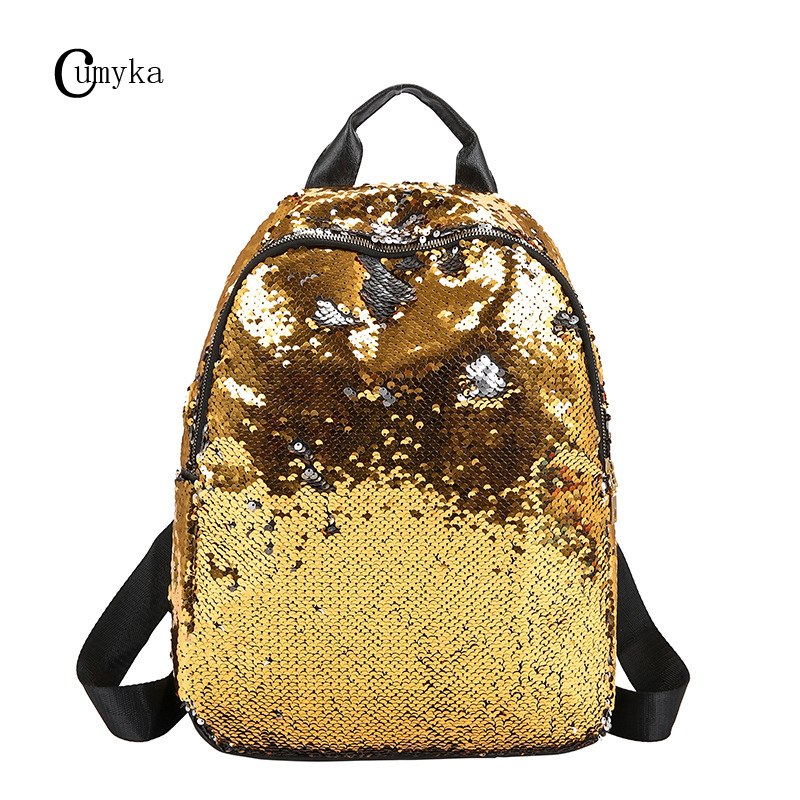 CUMYKA Sequin Backpack Women 2019 New Hip Hop Fashion Large Capacity Travel Bag School Student Backpacks Zipper Glint