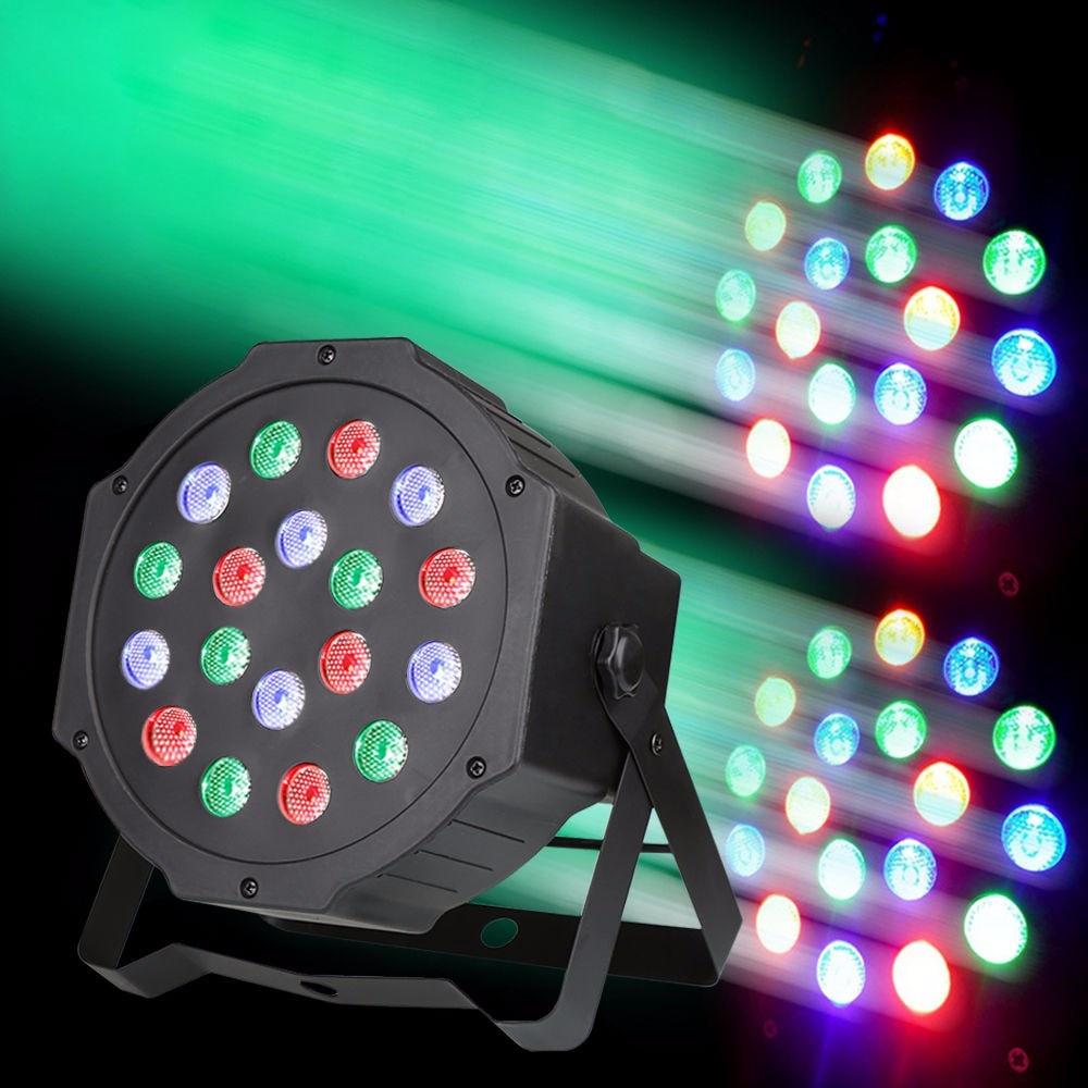 18W RGB LED Stage Light DMX Par CAN DJ Disco Uplighter Strobe Lighting for DJ Party Disco 110V-220V Power plug+Remote control