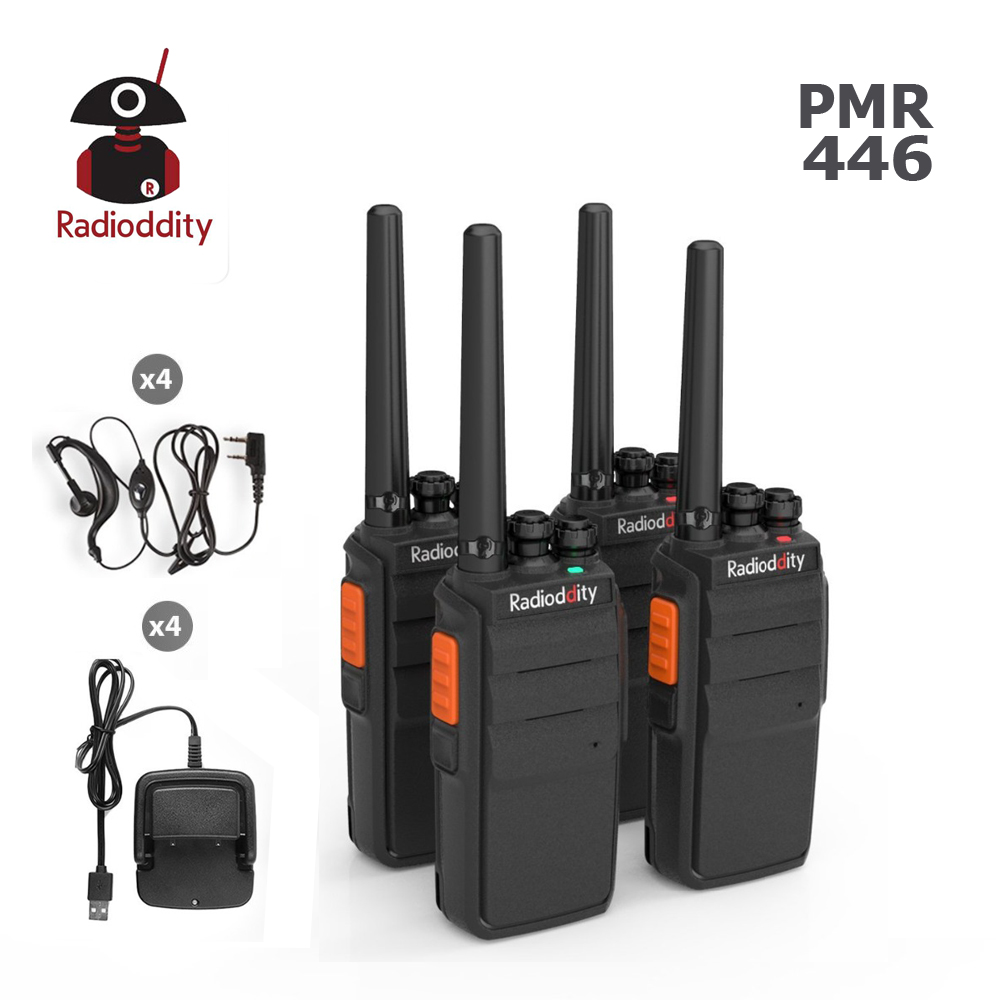 4PCS Radioddity R2 PMR446Mhz Two Way Radio 16CH UHF Scrambler VOX Walkie Talkie Long Range with