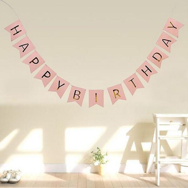 cute pink baby kids happy birthday banner pennant garland hanging
