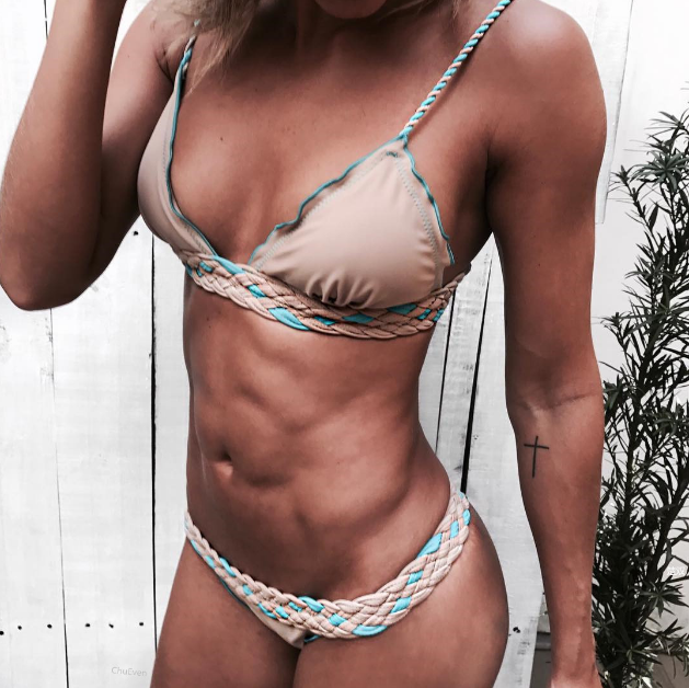 new sexy bikini set high quality brazilian swimwear women solid bathingsuit Hand knitted push up swimsuit beach bandage biquini