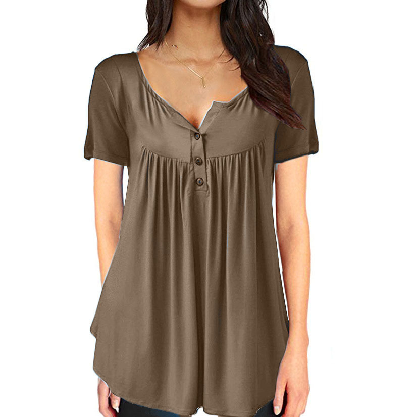 Women 39 s Shirt Fashion Casual Plus Size Loose Deep V Neck Maxi Female T Shirts Spring Short Sleeve Solid 10 Color Optional Tops in T Shirts from Women 39 s Clothing