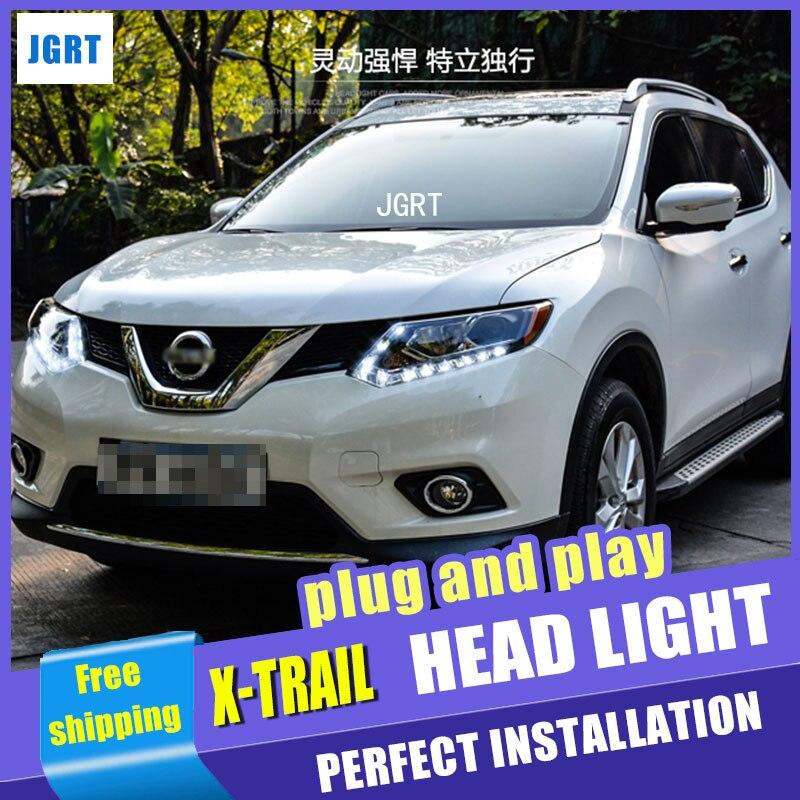 Стайлинга автомобилей для Nissan х-Трейл передняя фара в сборе для x-след привел глава лампы глаза Ангела Сид DRL переднего света H7 с HID комплект 2шт.