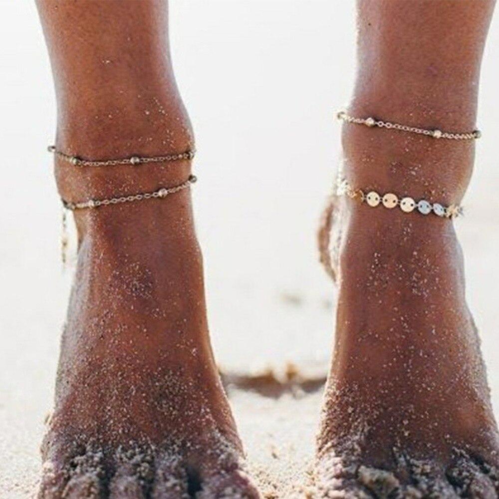 Analytisch Neue Fußkettchen Knöchel Armband Cheville Silber Gold Perlen Kette Fuß Schmuck Frau Femme Armbänder Fußkettchen Enkelbandje #273497 SorgfäLtig AusgewäHlte Materialien Fußkettchen