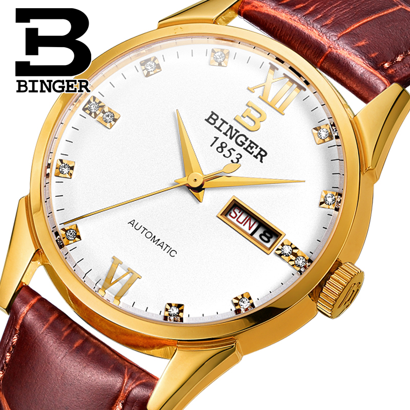 Switzerland men's watch luxury brand Wristwatches BINGER 18K gold Automatic self-wind full stainless steel waterproof B1128-21 150mm diameter glass pendant light edison bulb led vintage copper white ball glass shade lighting fixture brass pendant lamp