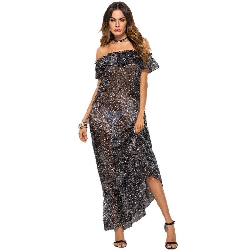 2018 летнее женское Свободное длинное платье с открытыми плечами и оборками, Пляжное Платье с принтом AD511