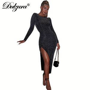 Image 4 - Dulzura 2019 autumn winter women bodycon midi dress glitter sparkle bling long sleeve slit elegant festival clothes party outfit