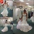 Fishtail querida sereia branca Organza frisado apliques tribunal trem vestido de noiva de noiva abendkleider vestidos 2013 New Arrival