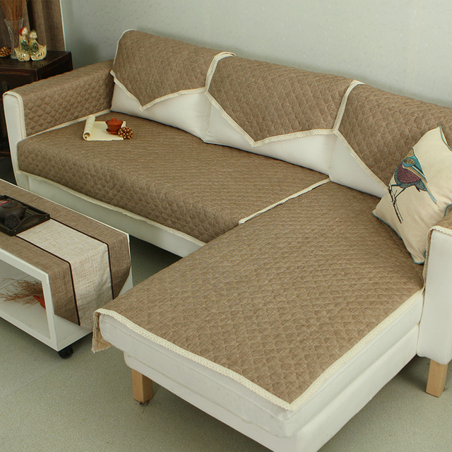 Polyester Coffee Color Lace Sectional Couch Pads For Living Room Almofadas Para Sofa Slip Resistant