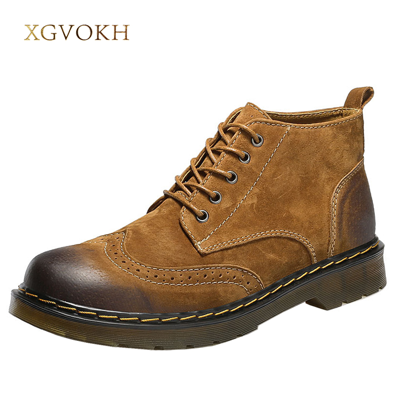 XGVOKH Men Ankle Boots Fashion Spring/Autumn Footwear Genuine Leather Mens Shoes Lace Up Casual New Short Boot Brown Gray Green fashion pleated leather mens casual shoes spring autumn new high top men shoes ankle mens sneakers zipper casual footwear