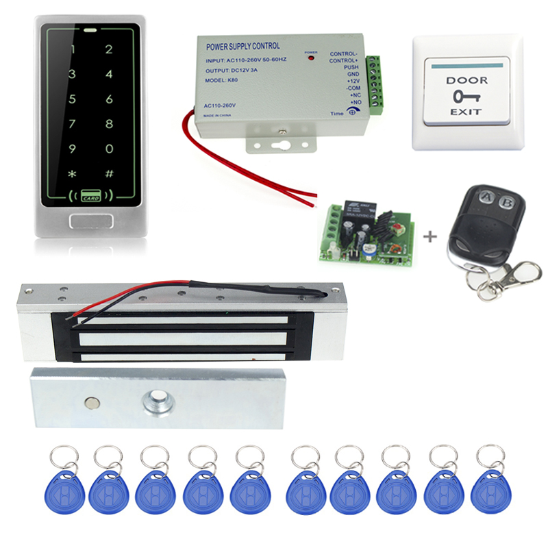 Touch Screen metal access control system kit+electronic Magnetic lock+power supply+key f ...