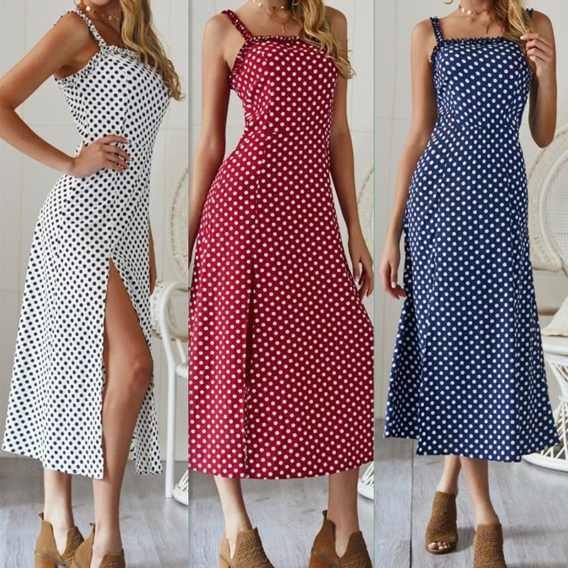 Summer Women Dress 2019 Vintage Sexy Bohemian Dot Print Beach Dress Sundress Pocket Red White Dress Strapless Female Brand in Dresses from Women 39 s Clothing