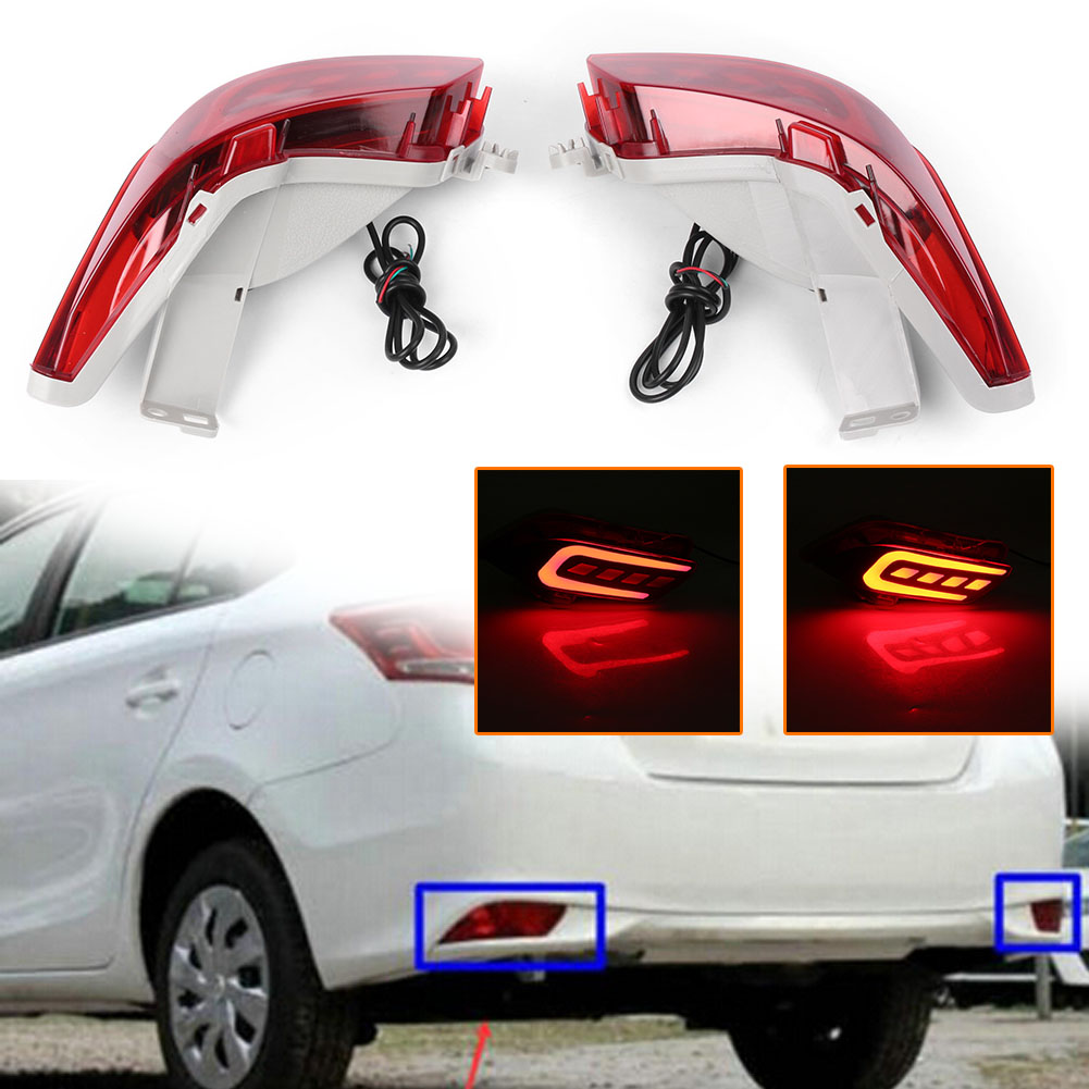2PCS LED Rear Bumper Lamps Fog Brake Tail Lights Taillight For Toyota VIOS 2016 2017 Automobile Parts Accessories new style tuning tail lamps high brightly led light bar b w style tail lights stop lights fit for toyota vios 2013 up