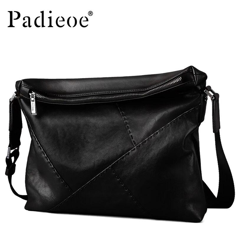 Padieoe Роскошные Брендовые мужские сумки мессенджеры из натуральной кожи на плечо черные мужские сумки деловые мужские сумки через плечо сум