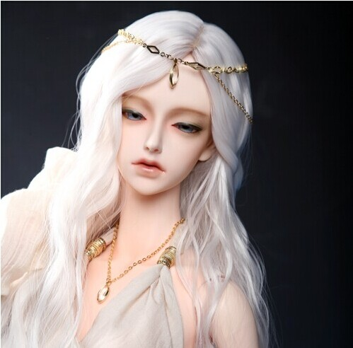 2018 Nykomst Bjd Sd docka Wig 1/3 High Temperature Wire Long White Wavy BJD Super Hair Doll Wig