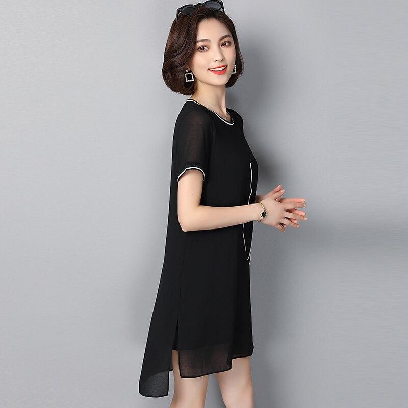 EAD Slim Summer Letter Print Chiffon Dress for Women Plus Size Fashion Short Sleeve Dresses Ladies Straight Black Casual Vestido