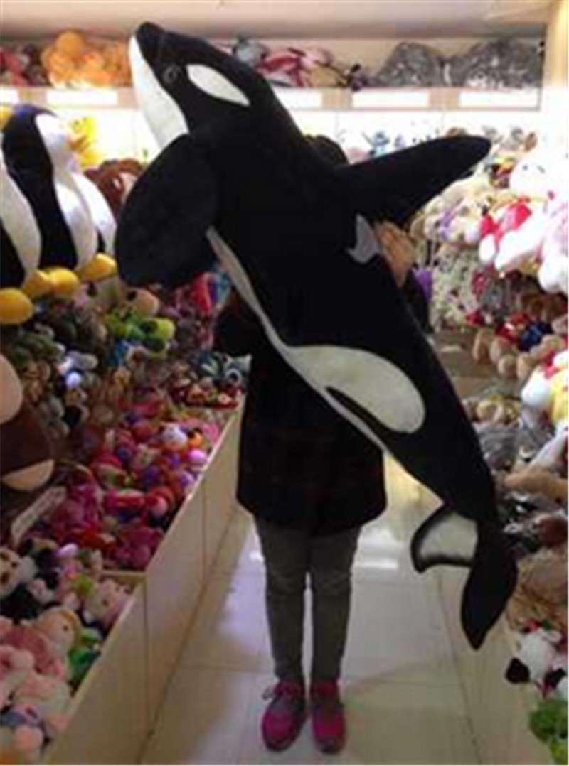 Giant Simulation Animals Killer Whale Plush Toy Big Stuffed Black Shark Doll Pillow Photography Props 130cm