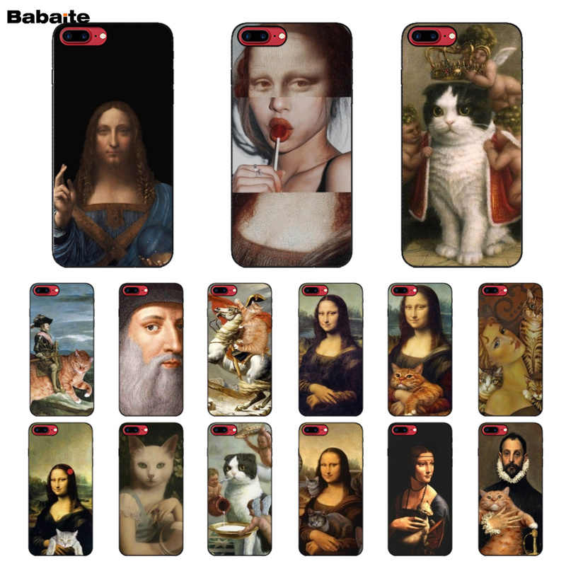 Babaite da Vinci Mona Lisa Pat gato arte pintura de caucho negro caja del teléfono para Apple iPhone 5 5S SE 6 6 S Plus 7 8 X XS X MAX XR