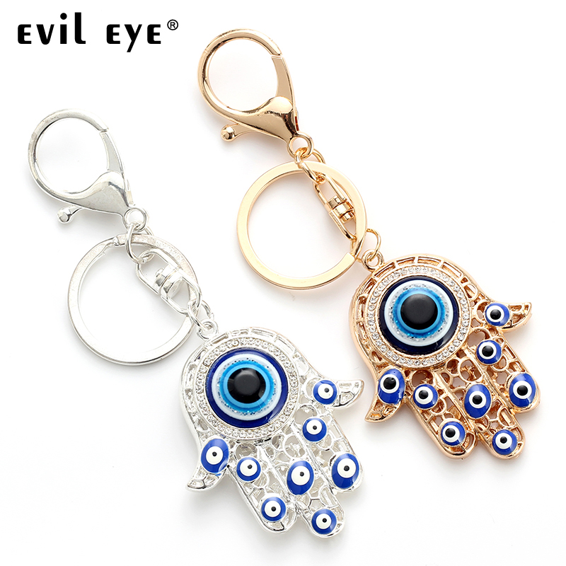 Evil Eye FREE SHIPPING 2018 Fashion Alloy Hassam Shape Charm Car Keychain Jewelry Pendant With BULE EVIL EYE BEAD  EY4742