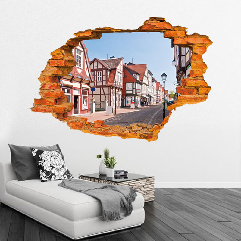 Creative home decor 3d wall sticker broken wall style for Creative home decorations reviews