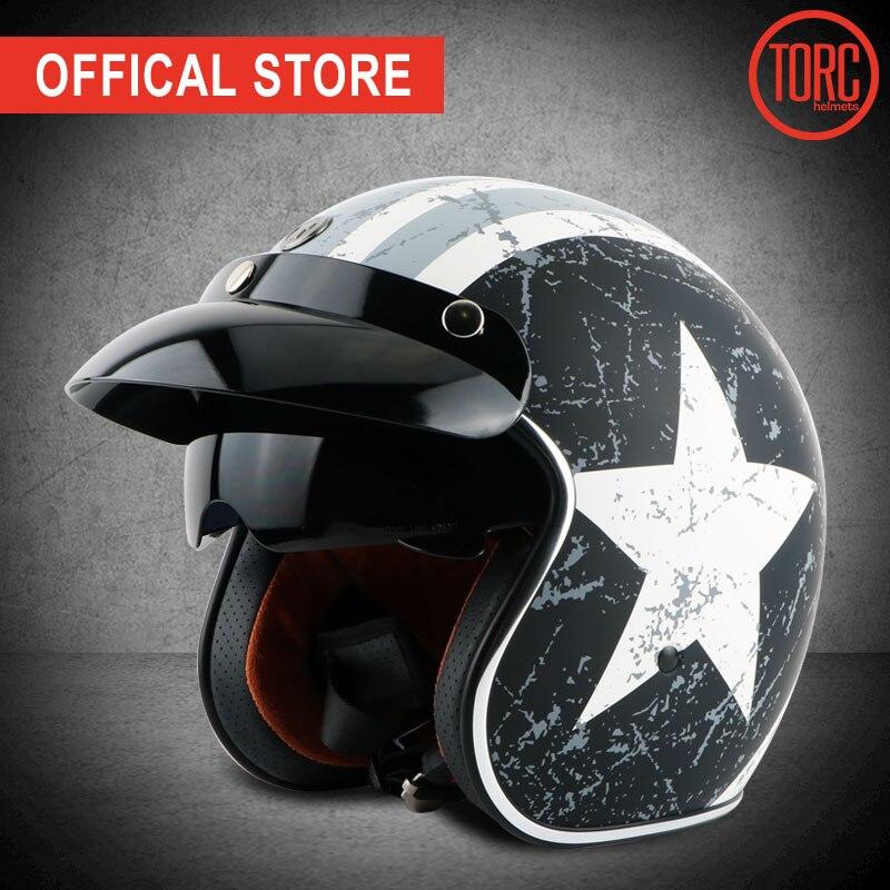 TORC capacete moto rcycle T57 vintage abrir rosto capacete 3/4 moto jet cruz retro capacete casque moto capacete viseira interna ECE