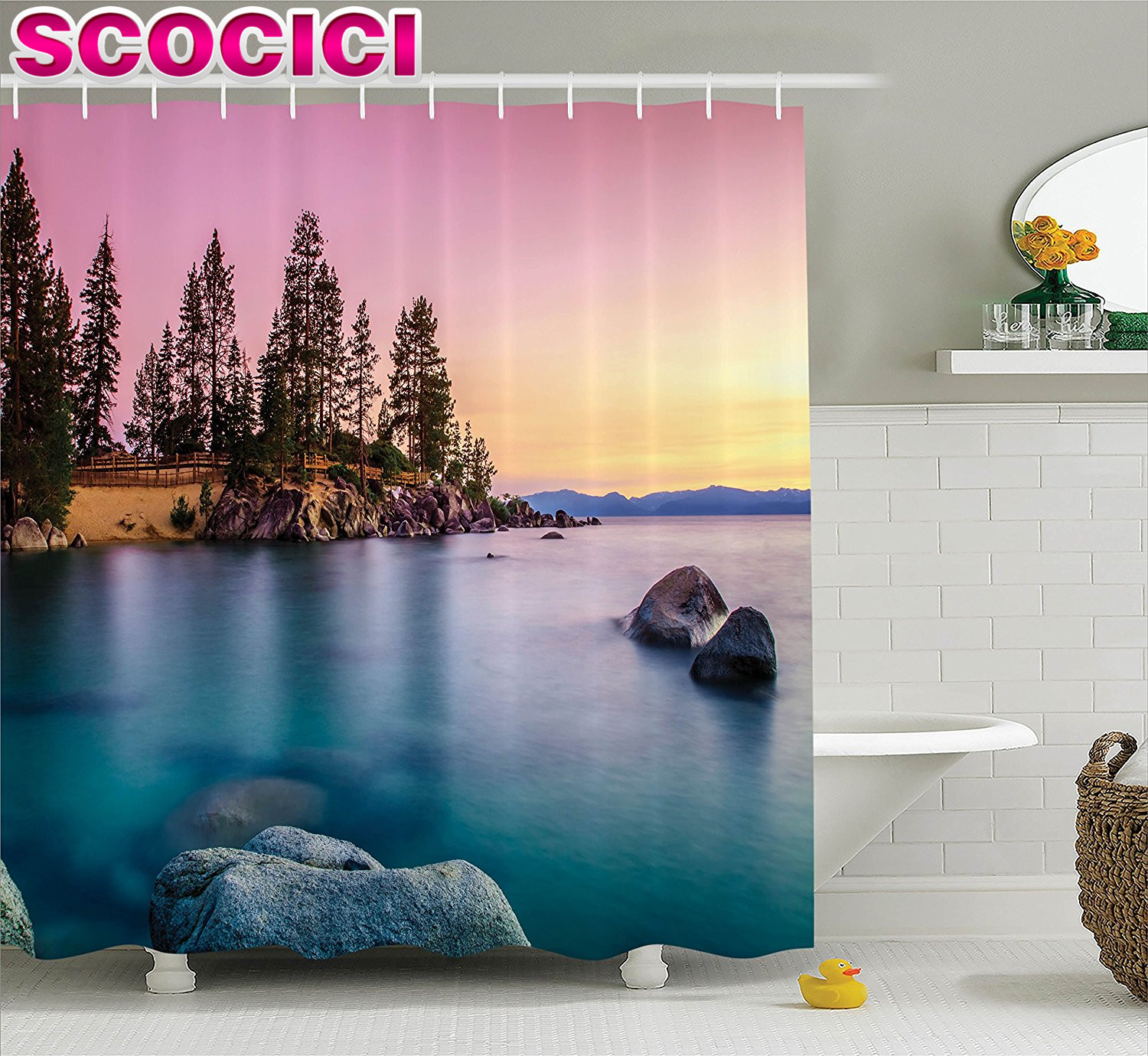 lake house decor shower curtain set trees on the alley and stones in the lake nature inspired rest home decor bathr