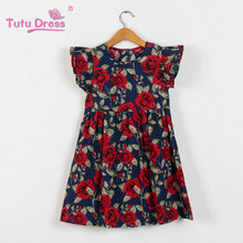 2018 Summer Girls Dress Floral Print Princess Dresses For Baby Girls Designer Formal Party Dress Kids Clothes(China)