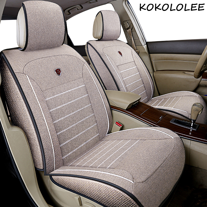 Kokololee Universal Flax Car Seat Covers For Mitsubishi All Models Outlander ASX Lancer Pajero Sport Pajero Dazzle Car Styling