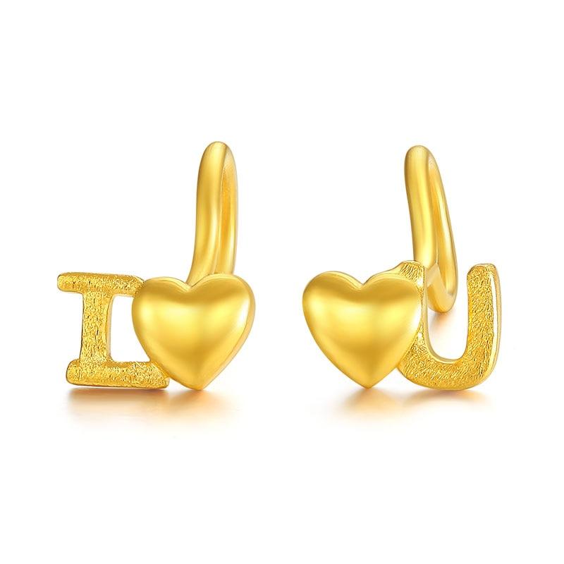 New Arrival 24K Yellow Gold Earrings Women Love Heart Stud Earrings 1.55g