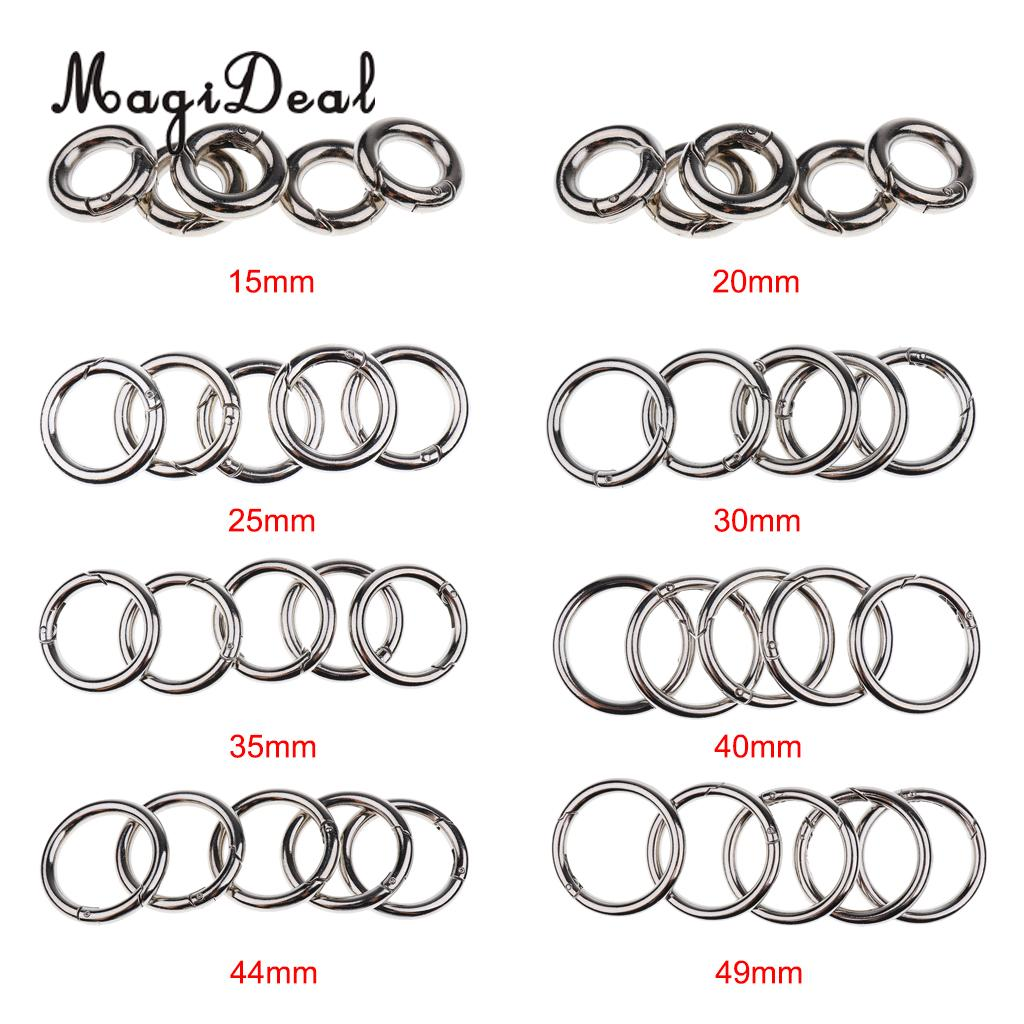 5 PCS Round Push Gate Snap Open Hook Spring Ring Key Chain Carabiner 15/20/25/30/35/40/45mm For Camping Backpack Handbag