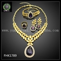 Dubai 24K Gold Plated Jewelry Sets Cute Jewelry Sets Purple Crystal Jewelry FHK1789