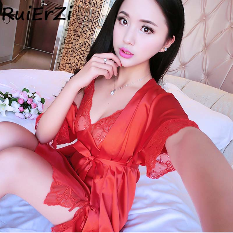 Fashion Spring Summer Silk Robe & Gowns Set Sexy Lace-up Print V-neck Bow Belt Two Piece Sleepwear + Bathing Robe Twinset