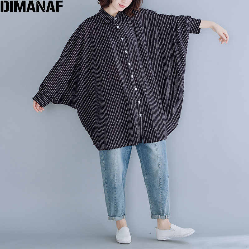 DIMANAF Plus Size Women Blouse 2019 New Autumn Batwing Sleeve Striped Female Lady Top Loose Big Size Print Casual Clothes 5XL