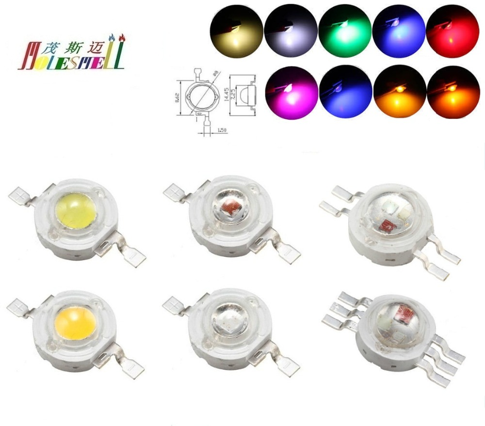 100pcs 1Watt High Power <font><b>LED</b></font> Chip <font><b>1W</b></font> Red Yellow Blue Green White Orange Purple Pink Warm white RGB <font><b>SMD</b></font> COB Light Lamp Beads <font><b>Diode</b></font> image