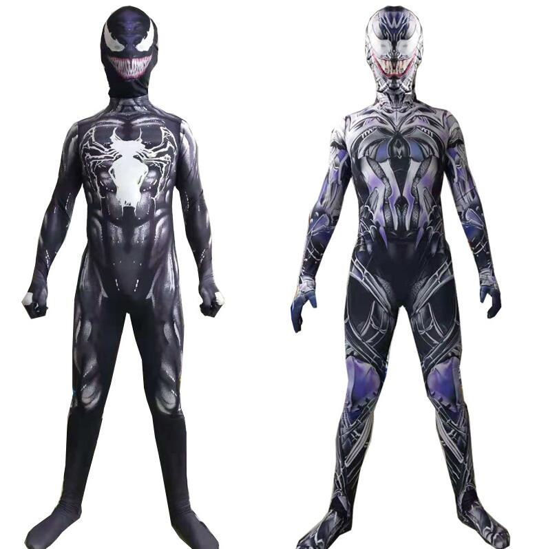 New Symbiote Spiderman Venom Costume Kids Suit Jumpsuit Mask Boys New Year Cosplay Halloween Costumes For Men Adult Superheros