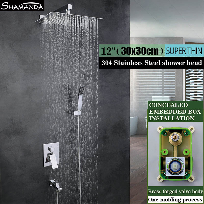 Bathroom Hot and Cold Water In Wall Mounted Shower Set Concealed Embedded Box Mixer Valve with 8/10/12 Inch Rain Shower Head