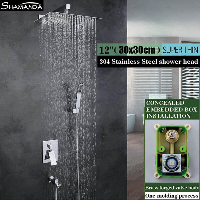 Salle de bain eau chaude et froide dans un ensemble de douche mural encastré encastré robinet mélangeur avec pomme de douche de pluie 8/10/12 pouces
