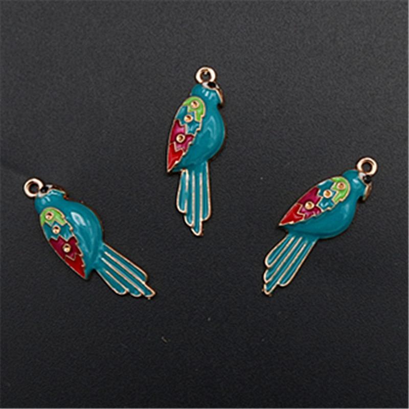 WKOUD 8 Uds Harajuku pájaro azul claro esmalte colgantes de aleación con amuleto para pendientes collar broche DIY encanto fabricación de joyas A348 BAMOER, nueva llegada, Plata de Ley 925, auriculares de oreja de gato, colgante, pulsera de encanto para mujer, joyería de cuentas DIY SCC441