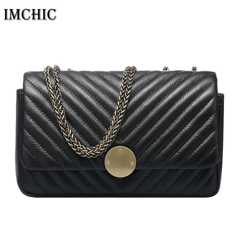 IMCHIC 2017 Women Shoulder Bags Genuine Leather Stitch sewing Pattern Woman C Style  Luxury Cowhide Ladies Crossbody Handbags
