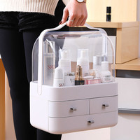 Drawer Type Transparent Dustproof Cover Cosmetics Storage Box Desktop Finishing Dressing Table Skin Care Products Rack