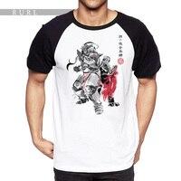 RURL 2018 Pittura A Inchiostro Raglan Sleeve T Shirt Robot Kung Fu Uomo T Harajuku Divertente